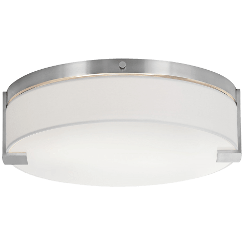 Baxter Ceiling White Fabric satin nickel compact fluorescent 120v