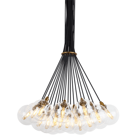 Gambit 19-Light Chandelier 19-LITE CHANDELIER Clear aged brass 2700K 90 CRI led 90 cri 2700k 120v (t20/t24)
