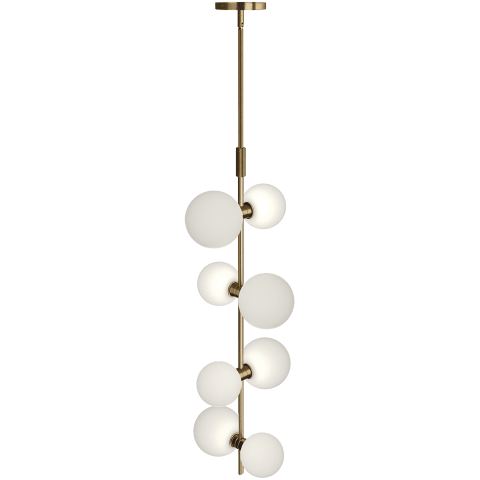 ModernRail Pendant Glass Orbs aged brass 2700K 90 CRI 24v surface canopy