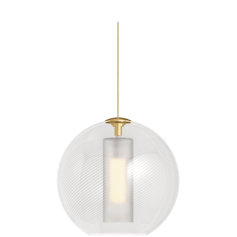Mini Palestra Pendant MonoPoint Opal/Clear natural brass 3000K 100 CRI 12v halogen lamp