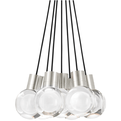 Mina Pendant 7-LITE CHANDELIER Clear satin nickel 3000K-2200K 90 CRI led 90 cri warm color dimming 3000k - 2200k 120v (t24)