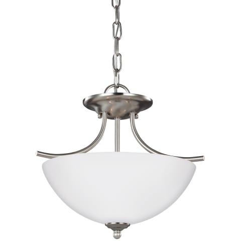 Bannock Two Light Semi-Flush Convertible Pendant Brushed Nickel Bulbs Inc