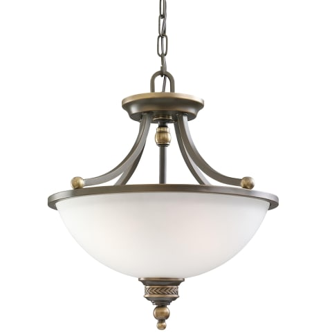 Laurel Leaf Two Light Semi-Flush Convertible Pendant  Estate Bronze