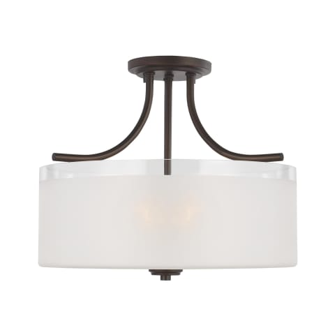 Norwood Three Light Semi-Flush Mount Bronze Bulbs Inc
