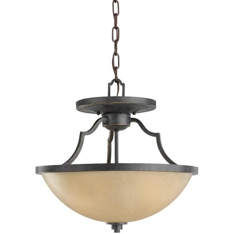 Roslyn Three Light Semi-Flush Convertible Pendant Flemish Bronze Bulbs Inc