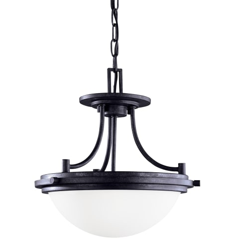Winnetka Two Light Semi-Flush Convertible Pendant Blacksmith