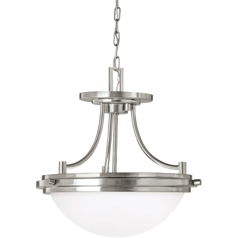 Winnetka Two Light Semi-Flush Convertible Pendant Brushed Nickel Bulbs Inc