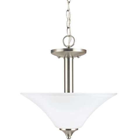 Holman Two Light Semi-Flush Convertible Pendant Brushed Nickel