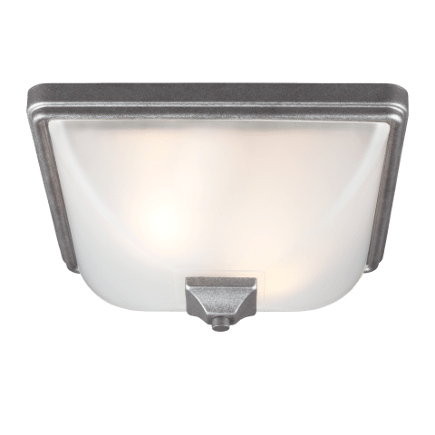 Irving Park Two Light Outdoor Flush Mount Weathered Pewter