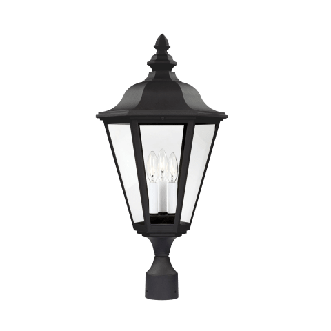 Brentwood Three Light Outdoor Post Lantern Black Bulbs Inc