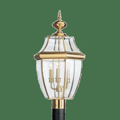 Lancaster Three Light Outdoor Post Lantern Polished Brass Bulbs Inc