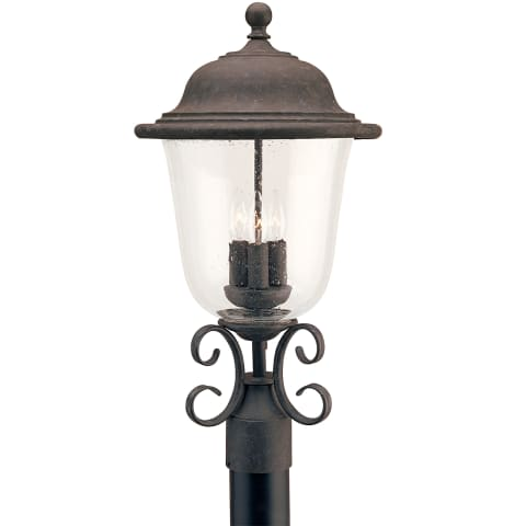 Trafalgar Three Light Outdoor Post Lantern Oxidized Bronze