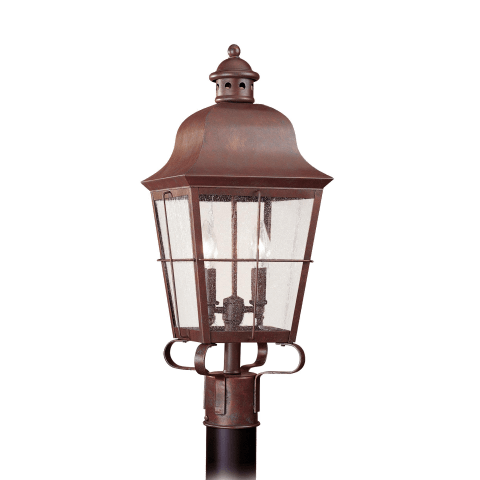 Chatham Two Light Outdoor Post Lantern Weathered Copper Bulbs Inc