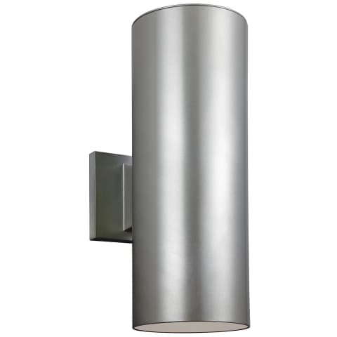 Outdoor Cylinders Two Light Outdoor Wall Lantern Painted Brushed Nickel Bulbs Inc
