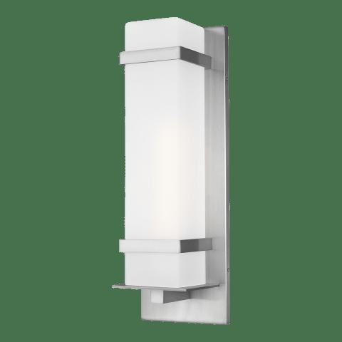Alban Large One Light Outdoor Wall Lantern Satin Aluminum Bulbs Inc