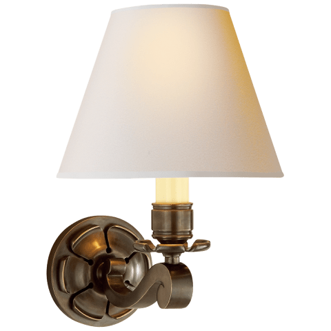 Bing Single Arm Sconce in Gun Metal with Natural Paper Shade