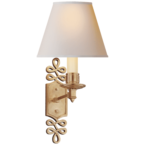 Ginger Single Arm Sconce in Polished Nickel with Natural Paper Shade