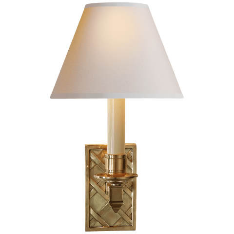 Gene Library Sconce in Natural Brass with Natural Paper Shade