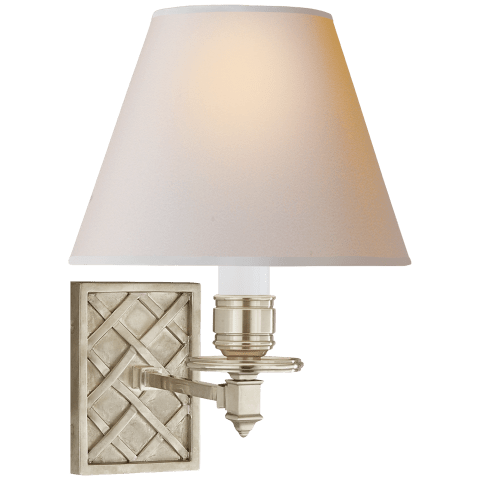 Gene Single Arm Sconce in Brushed Nickel with Natural Paper Shade