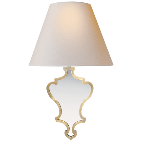 Madeline Small Mirrored Sconce in Natural Brass with Natural Paper Shade
