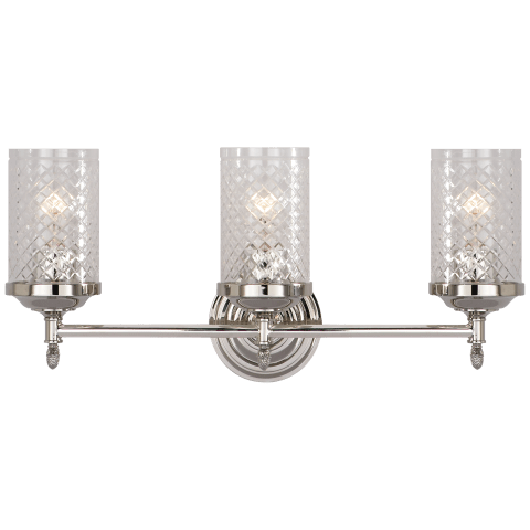 Lita Triple Sconce in Polished Nickel with Crystal