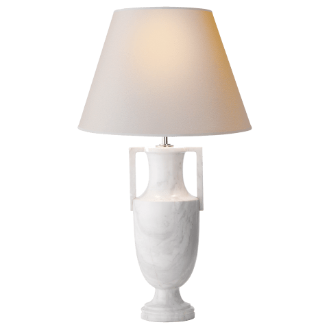Burt Table Lamp in White Marble with Natural Paper Shade