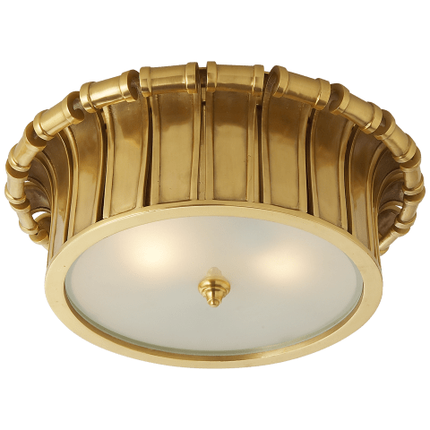 Vivien Flush Mount in Natural Brass with Frosted Glass