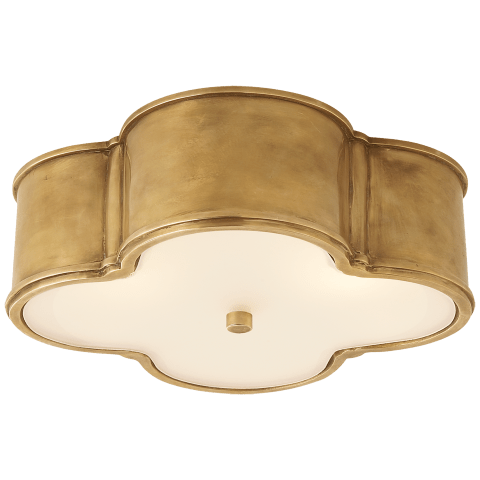 "Basil 17"" Flush Mount in Natural Brass with Frosted Glass"
