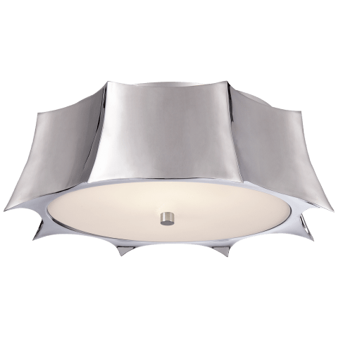 Peter Crown Flush Mount in Polished Nickel with Frosted Glass