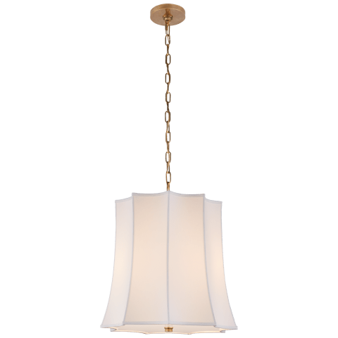 Peter Crown Hanging Shade in Natural Brass with Natural Percale Shade