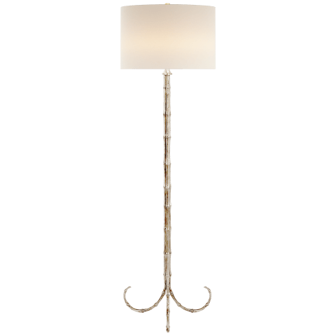 Edgemere Floor Lamp in Burnished Silver Leaf with Linen Shade