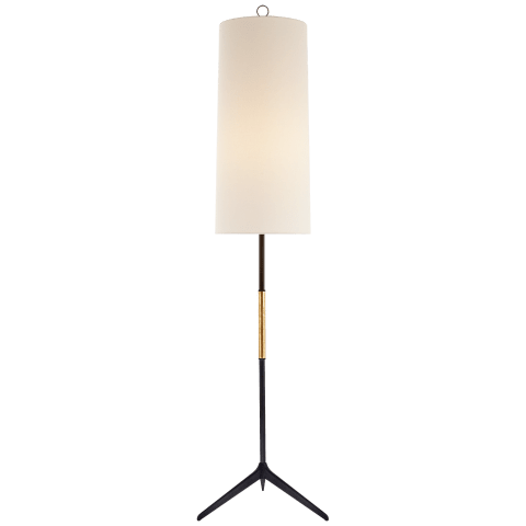 Frankfort Floor Lamp in Aged Iron with Gilded Accents and Linen Shade