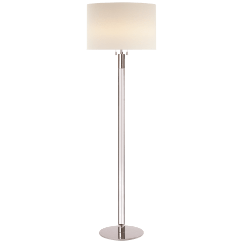 Riga Floor Lamp in Clear Glass and Polished Nickel with Linen Shade