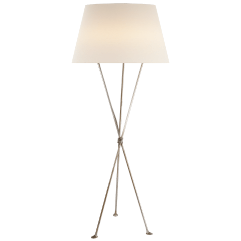 Lebon Floor Lamp in Burnished Silver Leaf with Linen Shade
