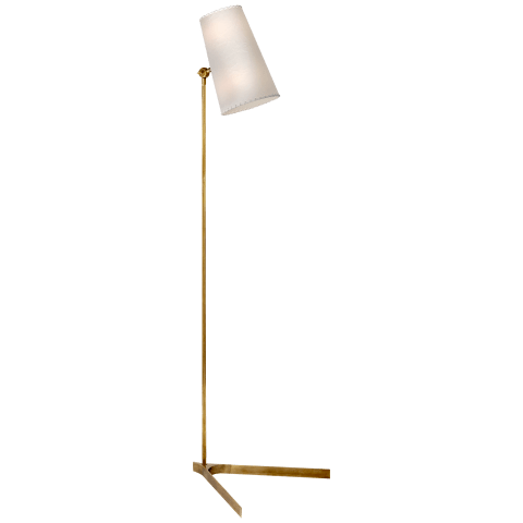 Arpont Floor Lamp in Hand-Rubbed Antique Brass with Parchment Stitched Shade