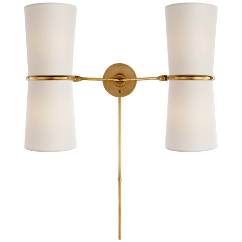 Clarkson Double Sconce in Hand-Rubbed Antique Brass with Linen Shade