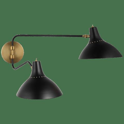 Charlton Medium Double Wall Light in Black