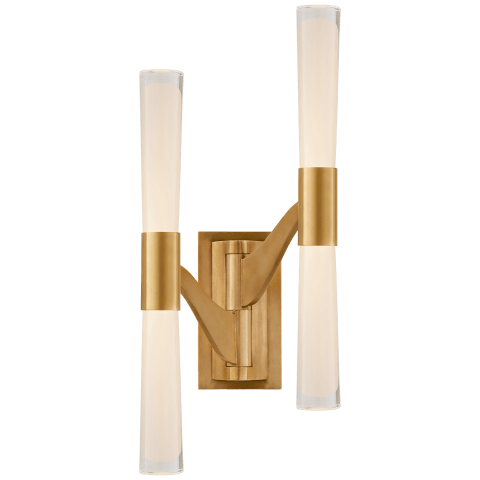 Brenta Large Double Articulating Sconce in Hand-Rubbed Antique Brass with White Glass