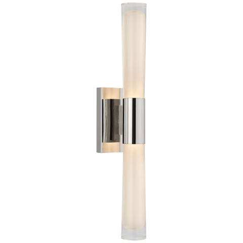 Brenta Single Sconce in Polished Nickel with White Glass