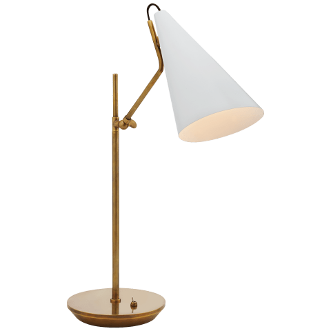 Clemente Table Lamp in Hand-Rubbed Antique Brass with White