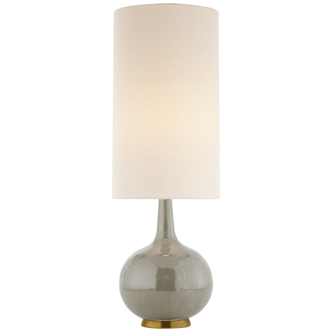 Hunlen Table Lamp in Shellish Gray with Linen Shade