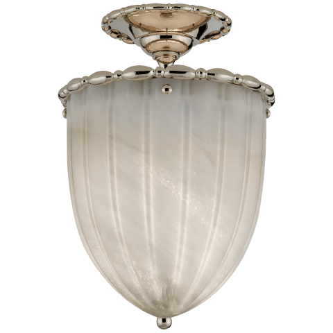 Rosehill Elongated Semi-Flush in Polished Nickel with White Strie Glass