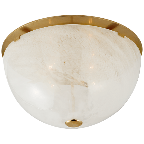 Serein Large Flush Mount in Hand-Rubbed Antique Brass with White Strie Glass