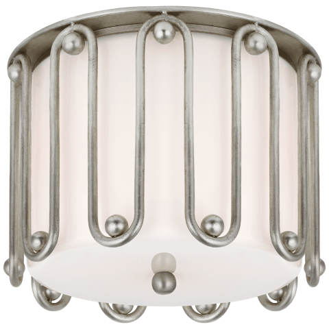 Molene Small Flush Mount in Burnished Silver Leaf with White Glass