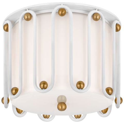 Molene Small Flush Mount in White and Gild with White Glass