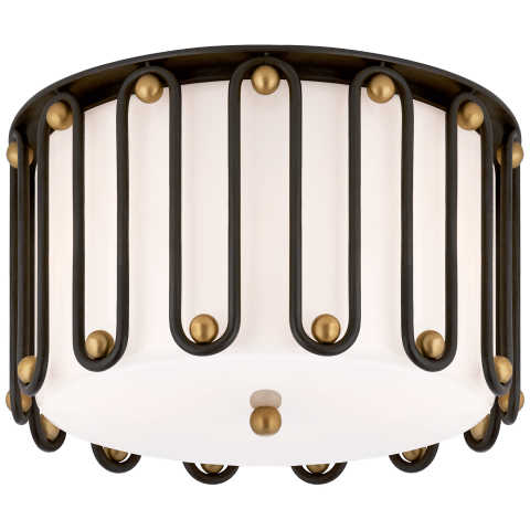 Molene Medium Flush Mount in Aged Iron and Gild with White Glass