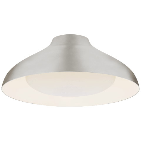 """Agnes 18"""" Flush Mount in Burnished Silver Leaf with Soft White Glass"""