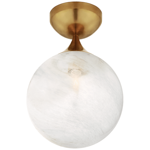 Cristol Small Single Flush Mount in Hand-Rubbed Antique Brass with White Glass