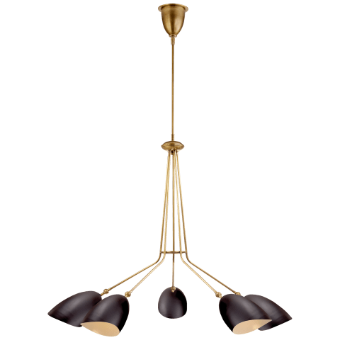 Sommerard Medium Five Light Chandelier in Hand-Rubbed Antique Brass with Black Shades
