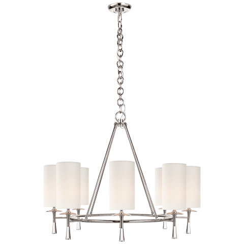 Drunmore Large Chandelier in Polished Nickel and Crystal with Linen Shades